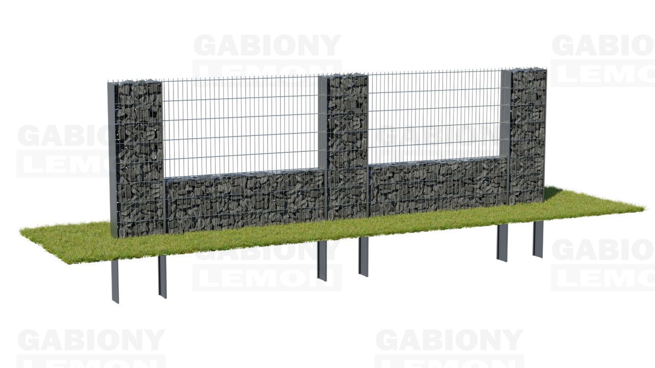 Gabion column with a low wall – filling, PRAKTIK fence component