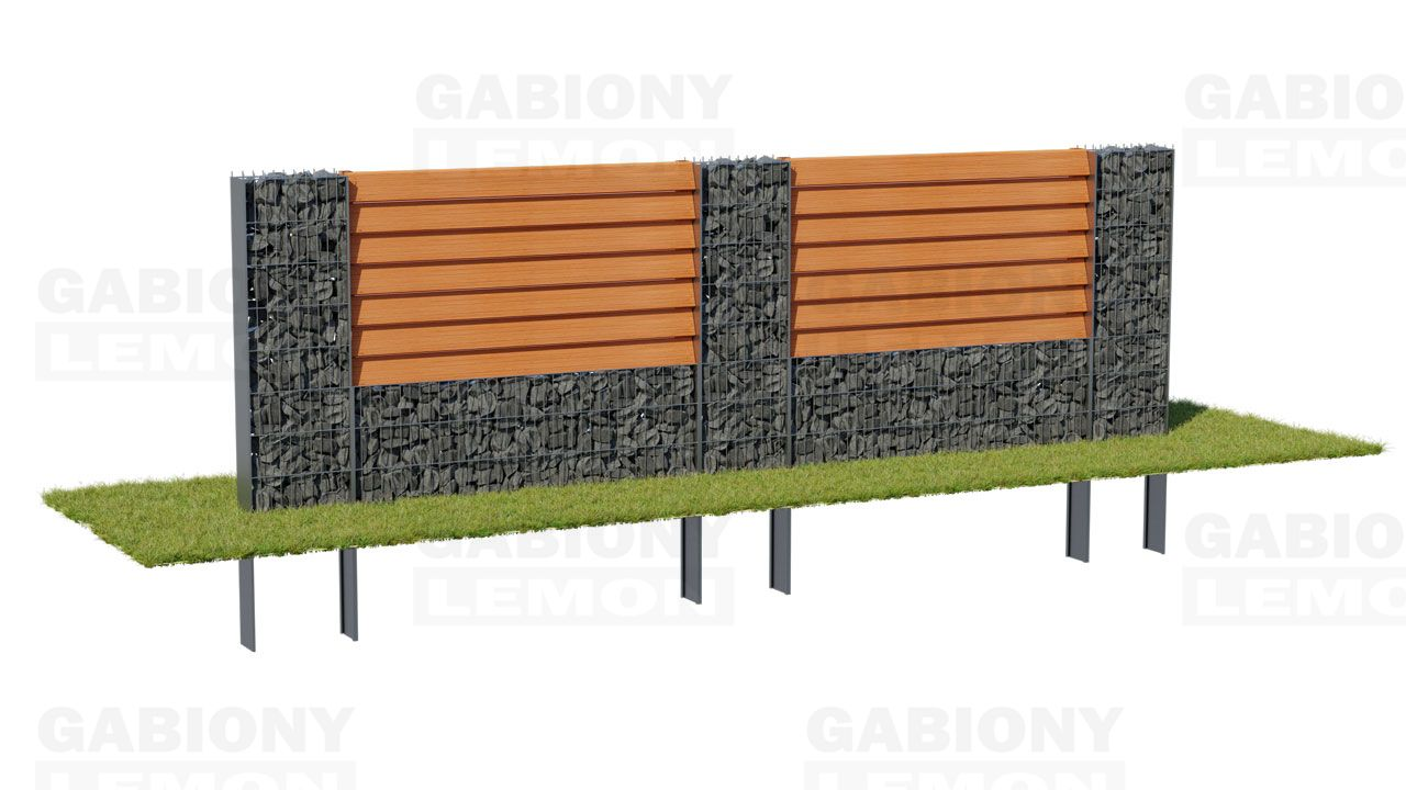 Gabion column with a low wall – wooden filling TIMBERING