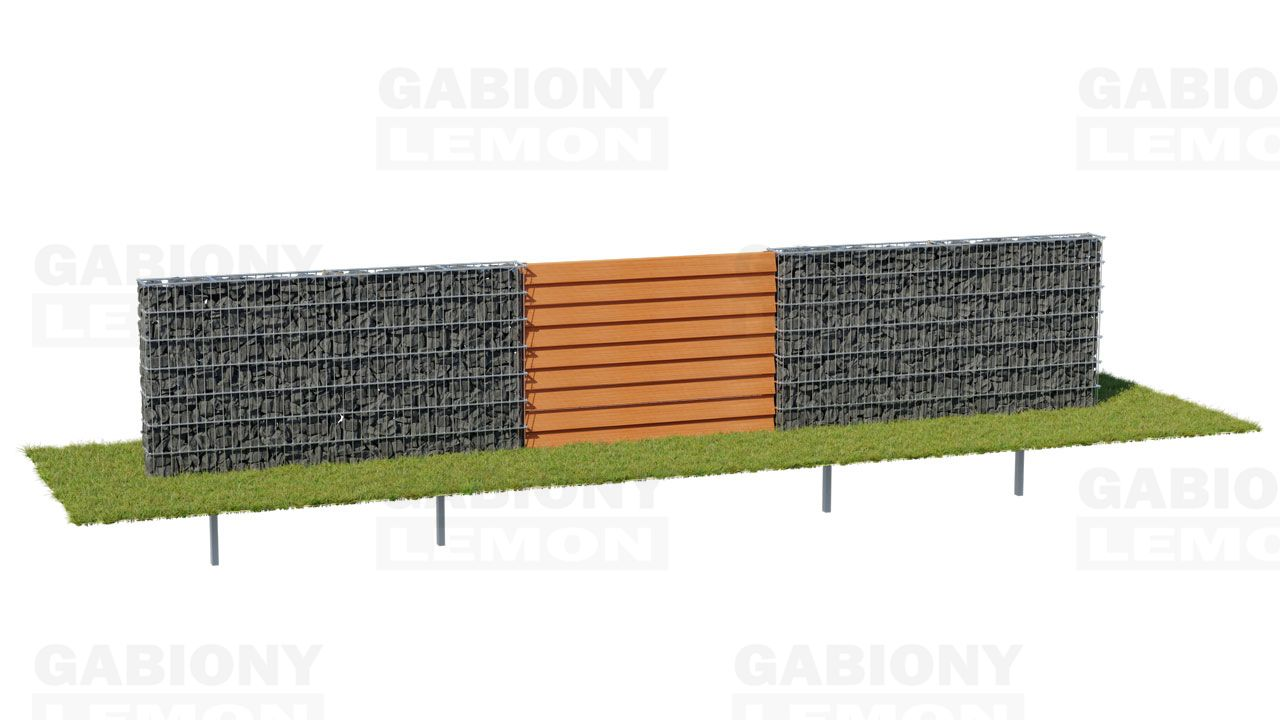 Gabion Fence PREMIUM – wooden Filling TIMBERING