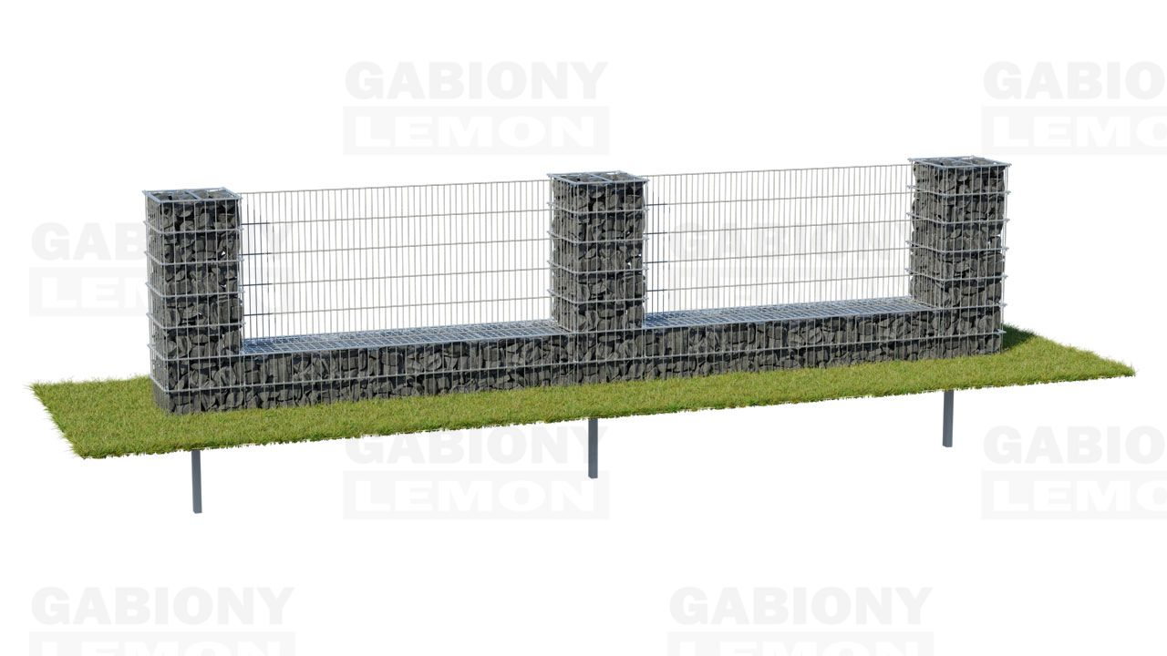 Gabion column with a low wall – filling, PREMIUM fence component
